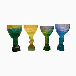 Bicchiere in cristallo intagliato a mano di Alissa Volchkova, set di 4