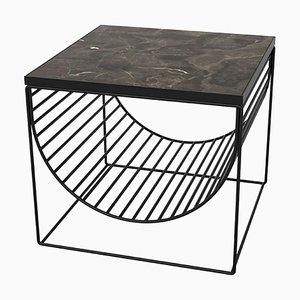 Brown Marble and Black Steel Side Table