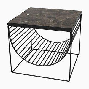Mesa auxiliar de mármol negro y acero negro