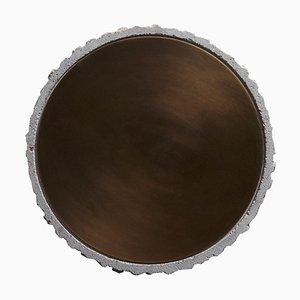 Tavolino da caffè in ottone e pietra calcarea di Frederic Saulou
