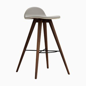 Walnut and Fabric High Stool by Alexandre Caldas