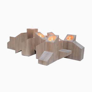 Natural Skyline Candleholider in African Walnut by Arno Declercq