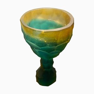 Cristal esculpido a mano verde y naranja de Alissa Volchkova