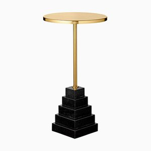 Granite and Steel Gold Top Side Table