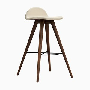 Walnut and Fabric Counter Stool by Alexandre Caldas
