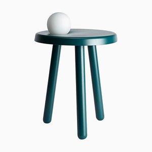 Tavolo piccolo Alby verde petrolio con lampada di Matteo Fiorini