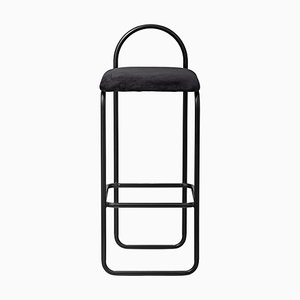 Sedia da bar minimalista in velluto color antracite