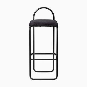 Silla de bar minimalista de terciopelo antracita