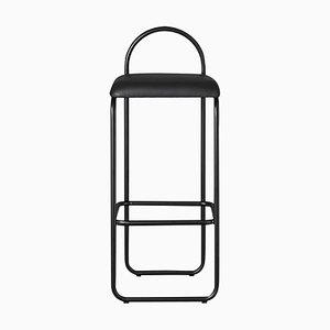 Silla de bar minimalista de cuero negro