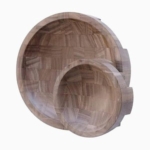 African Walnut Disk Trays by Arno Declercq, Set of 2