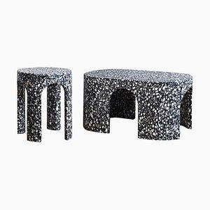 Table Basse et Table d'Appoint Loggia Terrazzo, Set de 2