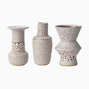 White Stoneware Vases from Moïo Studio, Set of 3