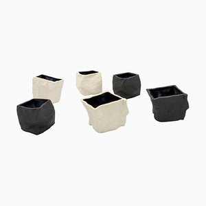 Black and White Cups by Craig Barrow, Set of 6