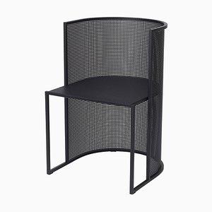 Sedia da pranzo Bauhaus in acciaio nero di Kristina Dam Studio