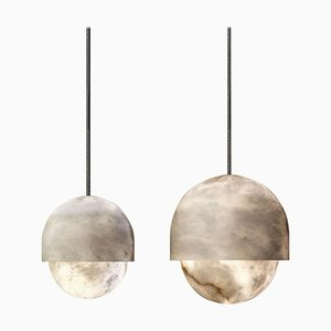 Alabaster Yoko Pendant Lights by Atelier Alain Ellouz, Set of 2