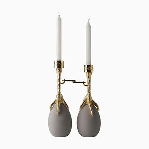 Walking Hen Gold Plated Candleholder by Aisha Al Sowaidi