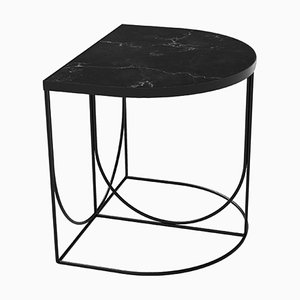 Black Marble and Steel Minimalist Side Table