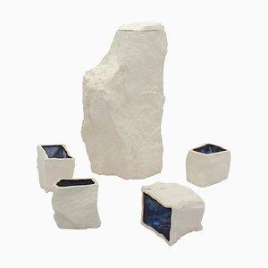 Caraffa e tazze bianche di Craig Barrow, set di 5