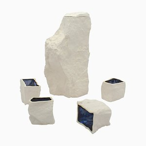 Weiße Karaffe und Tassen von Craig Barrow, 5er Set