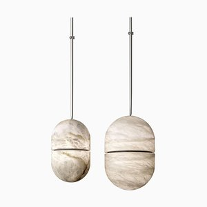 Alabaster Yum Pendant Lights by Atelier Alain Ellouz, Set of 2