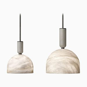 Alabaster Oki Pendant Lights by Atelier Alain Ellouz, Set of 2