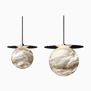 Alabaster Yak Pendant Lights by Atelier Alain Ellouz, Set of 2