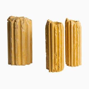 Yellow Cornice Vessels by Studio Lenny Stöpp, Set of 3