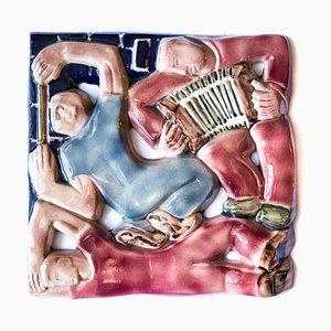 Keramik Flachrelief von Rene Boschman für Coceram