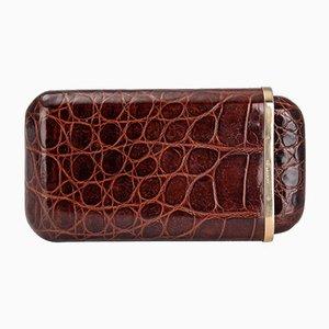 20th Century British Gold & Crocodile Leather Cigar Case, 1958