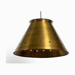 Extra Large Mid-Century Italian Brass Ceiling Lamp, 1950s