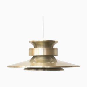 Golden Aluminium Ceiling Lamp from Lyskær Belysning, 1970s