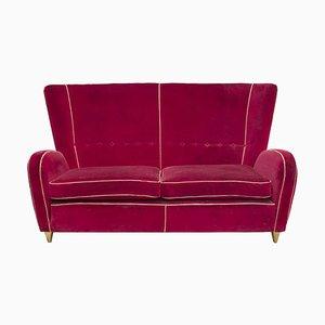 Divano di velluto rosso di Paolo Buffa, anni '50
