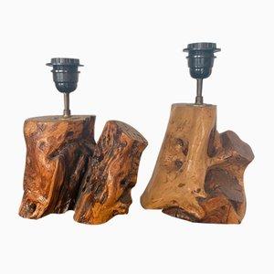 Olivier Tischlampen aus Holz, 1970er, 2er Set