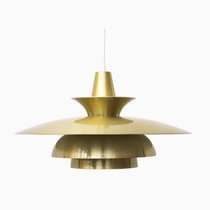 Danish Gold Colored Roma Pendant Lamp from Junge, 1980s