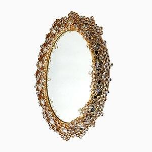 German Gilt Brass & Crystal Oval Mirror by Palwa for Palwa, 1970s