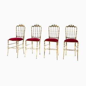 Italian Brass Chiavari Dining Chairs by Giuseppe Gaetano Descalzi, 1966, Set of 4