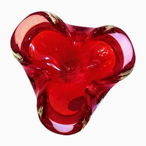 Ruby Red Murano Glass Hand Formed Bowl, 1960s