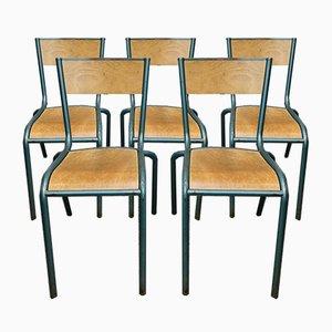 Französische Vintage Schulstühle von Mullca, 1950er, 5er Set
