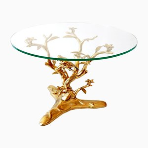 Belgium Mid-Century Modern Brass Coffee Table by Willy Daro, 1970s