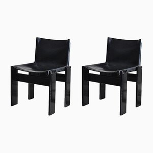 Leather Monk Chairs by Tobia & Afra Scarpa for Molteni, 1970s, Set of 2