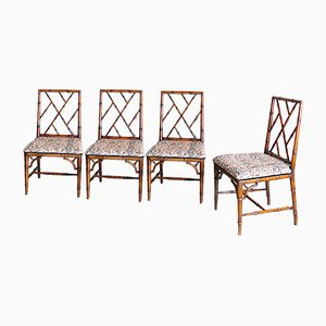 Bamboo Chairs with Original Upholstery, 1960s, Set of 4