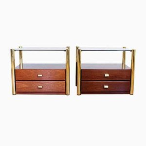 Vintage Brass & Smoked Glass Nightstands, 1970s or 1980s, Set of 2