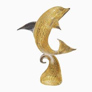 24K Gold & Murano Glass Dolphin Figurine by Andrea Tagliapietra, 1960s