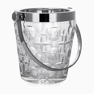 20th Century French Silver & Glass Champagne Ice Bucket, 1960s