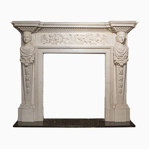 Large Neoclassical English Marble Fireplace, 2000s