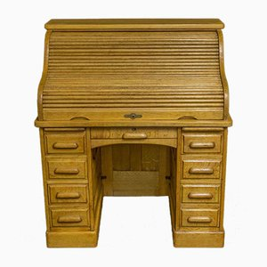Small Antique Oak Roll Top Desk