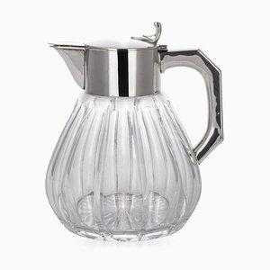 Deutscher Art Deco Silber & Glas Limonaden Krug, 1920er