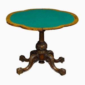 Viktorianischer Kartentisch aus Nussholz