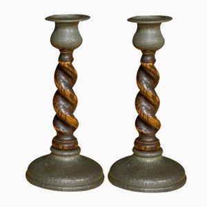 Antique Arts & Crafts Candleholders, Set of 2