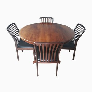 Mid-Century Danish Rosewood Dining Table & Chairs Set by Svend Aage Madsen for Moreddi, 1960s, Set of 5